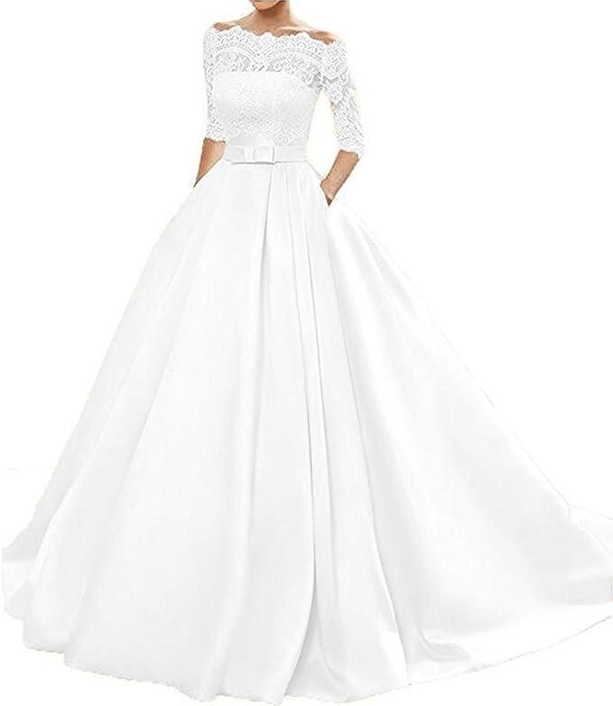 Amazon.com: onlinedress Vestido de novia de encaje con ...