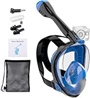 Hengory Dry Set Full Face Snorkel Mask Foldable Snorkeling with Detachable Camera Mount 180 Degree Panoramic V