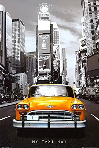 (Buyartforless New York City Yellow Taxi No 1 - Times Square Manhattan 36x24 Photograph Art Print Poster)