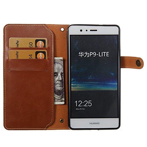 YHUISEN [Fuerte Imán] Lujo Retro Premium PU cuero Flip Cartera Funda protectora con correa de muñeca para Huawei P9 Lite ( Color : Khaki ) Brown