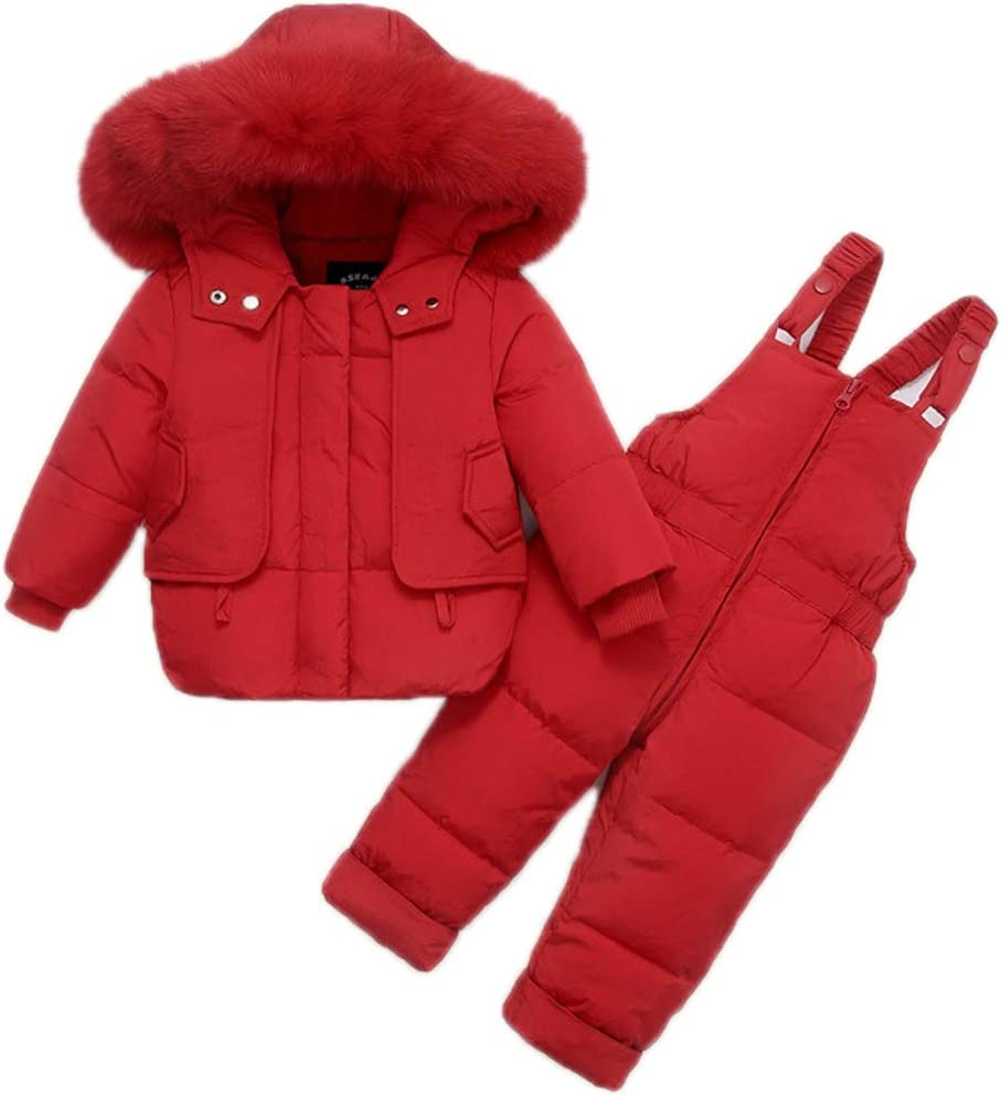Baby Snowsuit Toddler Warm Hooded Fur Trim Puffer Duck Down Coat Jumpsuits Set Red