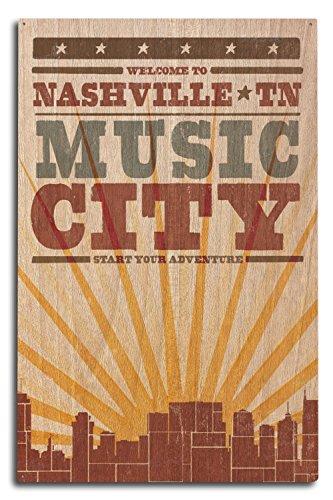 - Lantern Press Nashville, Tennessee - Skyline and Sunburst Screenprint Style (10x15 Wood Wall Sign, Wall Decor Ready to Hang)