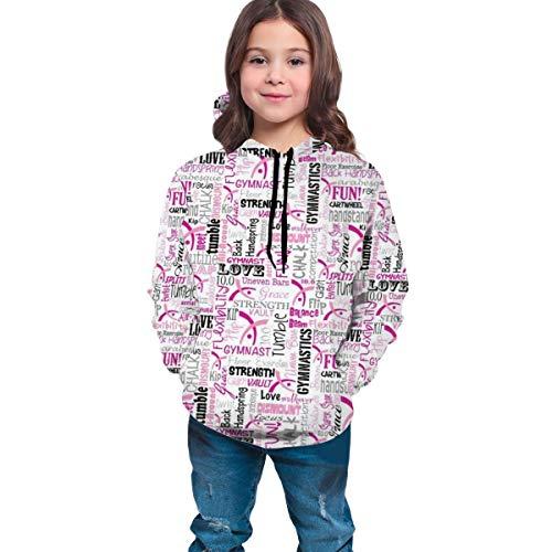 YongColer Hip-Pop Sweatshirts for Teen Girls Boys, Drawstring Slim Fit 3D Print Tracksuits (Gymnastics Pink Hoodies)