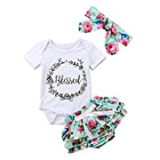 Baby Girl Tutu Bloomers Outfits Blessed Bodysuit White Shirt Floral Tutu Shorts with Headbands Toddler Clothing Set 12-18 Months
