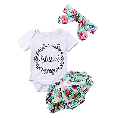 - Newborn Tutu Bloomers Outfits Baby Girl Blessed Bodysuit Snap Shirts Floral Tutu Shorts with Headbands Infant Clothing Set 6-12 Months