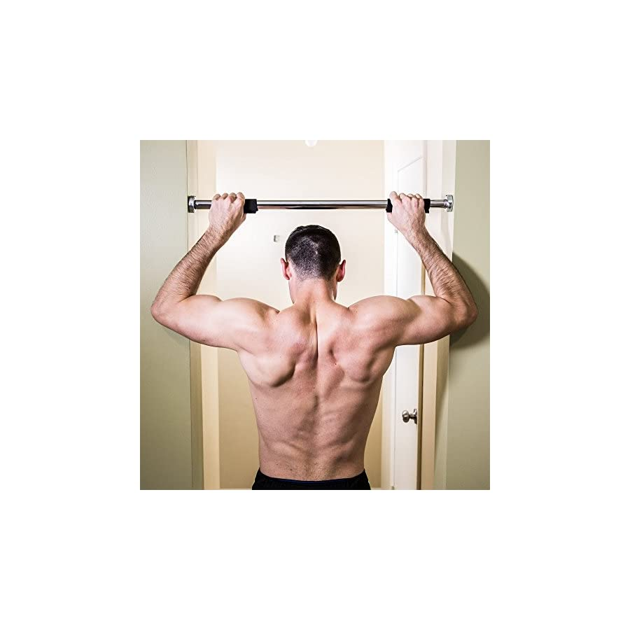 """j/fit Deluxe Doorway Pull Up Bar with Comfort Grips LONGEST LENGTH Pull Up BAR AVAILABLE 40"""" WIDE. (Pull ups, Chin ups, Push ups, Sit ups, and Dips!)"""