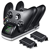 xbox game remote - DinoFire Xbox One Controller Charger Dual One S/One X Controller Charger Stand Station Remote Game Controller Charger Dock with 2 x 600mAh Rechargeable Battery Kit (Not for Xbox Elite)