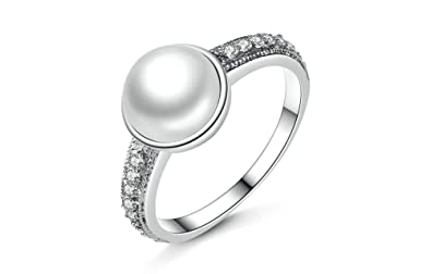 Dixey Luxury Anillos de Plata 925 Sterling Silver Rings With Simulated Pearl For Women (6