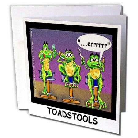 Londons Times Funny Animals Cartoons - Toadstools Frogs Who Drink Too Much - 12 Greeting Cards with envelopes -