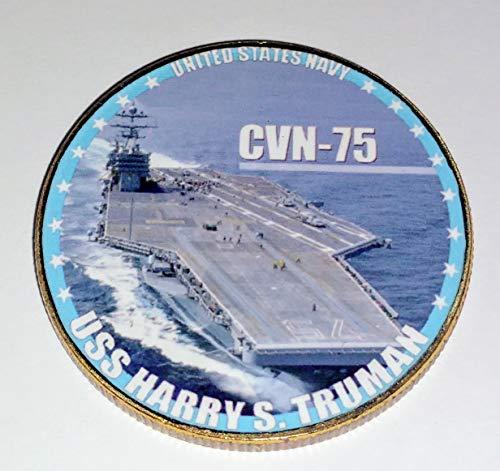 Navy USS Harry S Truman CVN-75 Colorized Challenge Art Coin ()