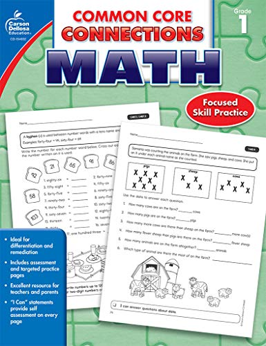 Image of Carson-Dellosa Common Core Connections Math Workbook, Grade 1, Ages 6 - 7, 96 Pages
