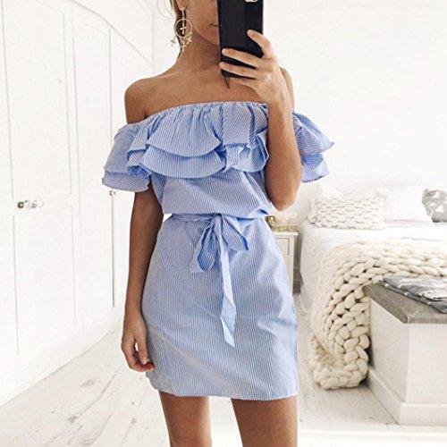 kleid damen Kolylong® Frauen aus Schulter elegant gestreift Partykleid Sommer trägerloses rückenfreies Minikleid Bikini Strand Kleid Abendkleid Blau xnoXtkFXgg