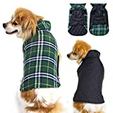 #7: Winter Dog Coats Waterproof Windproof Reversible, Dog Jacket for Cold Weather, Warm Plaid Dog Sweaters for Medium Large Size Dogs,Green L