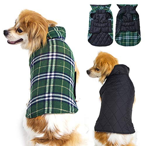 Dog Sweater and Jackets for Extra Small Puppy Dogs, Warm Dog Coats Waterproof Windproof Reversible, Winter Dog Jacket for Cold Weather, Green XS