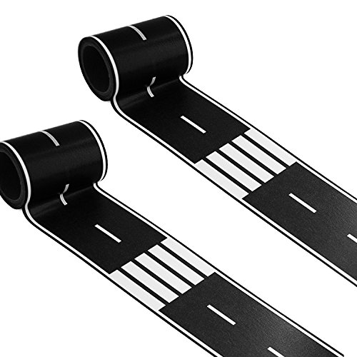 2 Rolls Road Tape Black Total 66 Feet Creative Traffic  for Kids Birthday Car Party Gift 33 x 2.4 Each Roll