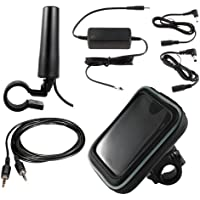 SiriusXM Satellite Radio Motorcycle Bundle with Motorcycle Antenna, Hardwired Power Adapter, AUX Cables, and Weatherproof Case