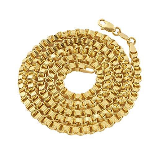 (LoveBling 10K Yellow Gold 3mm Fancy Belcher Double Rolo Chain Necklace (24