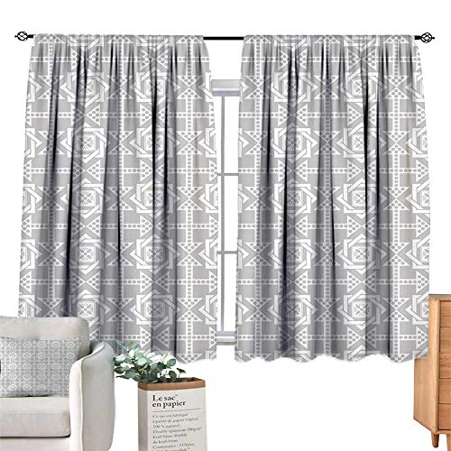 Unprecall Geometric Kids Curtain Abstract Repeating Pattern with Floral Squares Frames and Dotted Arrows MotifsSilver White Curtain Panels W72 x ()