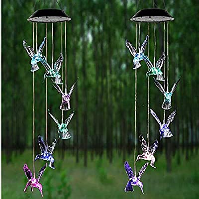 star sound source Solar Transparent Hummingbird Wind Chime Changing Color LED String Lights Outdoor Waterproof Mobile Hanging for Home/Yard/Patio/Garden/Party (Transparent Hummingbird) : Garden & Outdoor