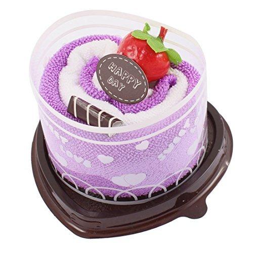 eDealMax Mano Regalo Cuore Cake Design di frutta Festa nuziale Della Towel Viola