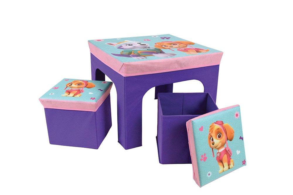 FUN HOUSE Pat' Patrouille ragazza tavolo con 2sgabelli pieghevole per bambini, MDF/in tessuto non tessuto, 52x 52x 15cm CIJEP 712745
