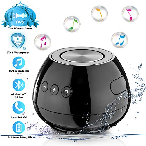 Bluetooth Portable Wireless Speakers TWS Waterproof Shower IPX6 Speaker Splashproof,Enhanced Bass,Built-in-Mic Handsfree Call Speakerphone Compact Desktop Speaker Pc Smartphone
