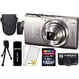 CanonPowerShot ELPH 360 HS 20.2MP 12x Zoom Full-HD 1080p Wi-Fi Digital Camera (Silver) + 32GB Card + Reader + Case + Accessory Bundle