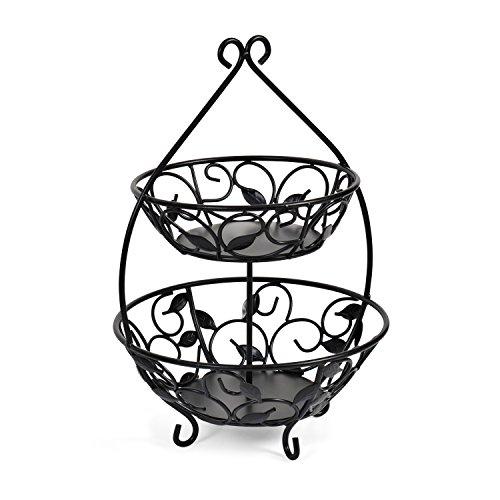 - Pfaltzgraff Basics Leaf 2-Tier Wire Fruit Bowl, 12.75-Inch, Black - 5148732