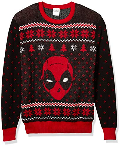 Marvel Men's Ugly Christmas Sweater, Deadpool/Red, XX-Large