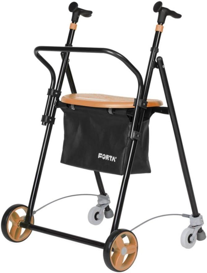 Queraltó Andador para Ancianos, de acero plegable, con Frenos traseros, con Cesta Asiento y Respaldo, color Salmón