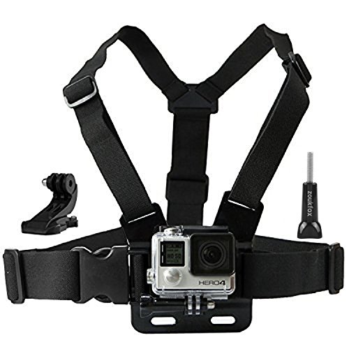 Zoukfox Chest Belt Strap Harness Mount, Camera Headstrap Mount + Quick Clip for Gopro Hero 4 Hero 3 (Action Camera Chest Mount)