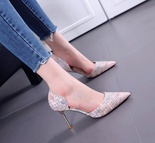 Toe Fashion Shoes Color Mouth Wedding Size Summer Shallow Baotou Comfortable Pointed Gray Heels Shoes Sexy 36 Elegant Women's Weaving Style High Sandals fq6OEUwX7