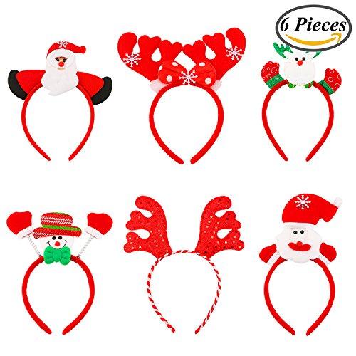 Resinta 6 Pieces Christmas Headband Reindeer Antlers Headband Santa Headbands for Christmas Holiday Costume Party - Costume Party Christmas