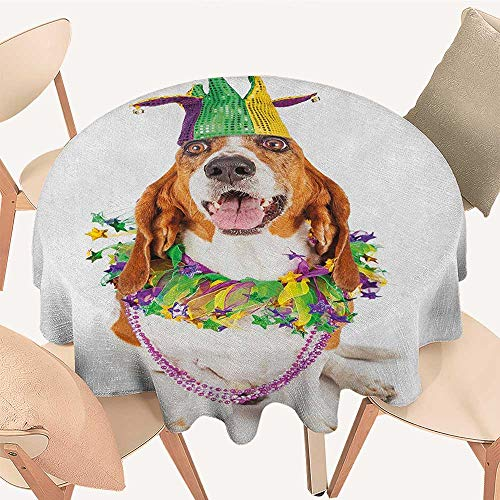 longbuyer Mardi Gras Jacquard Tablecloth Happy Smiling Basset Hound Dog Wearing a Jester Hat Neck Garland Bead Necklace Round Tablecloth D 60
