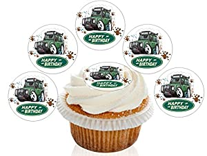 Ready Made Cake Decorations Uk : 12 Large Pre Cut Edible Happy Birthday Land Rover Wafer ...
