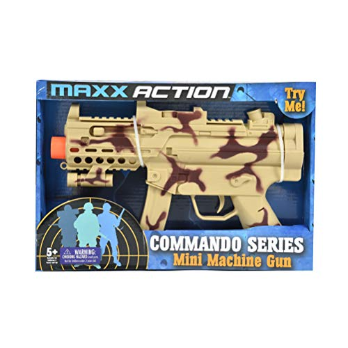 Sunny Days Entertainment Maxx Action Commando Series Toy Mini Machine Gun with Realistic Sounds and Military Camo Finish -