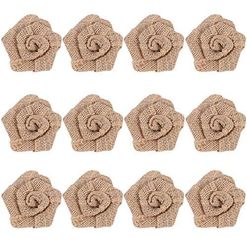 (12pcs Handmade Burlap Flowers Rustic Lace Rose for DIY Craft Wedding Decoration(item3) )