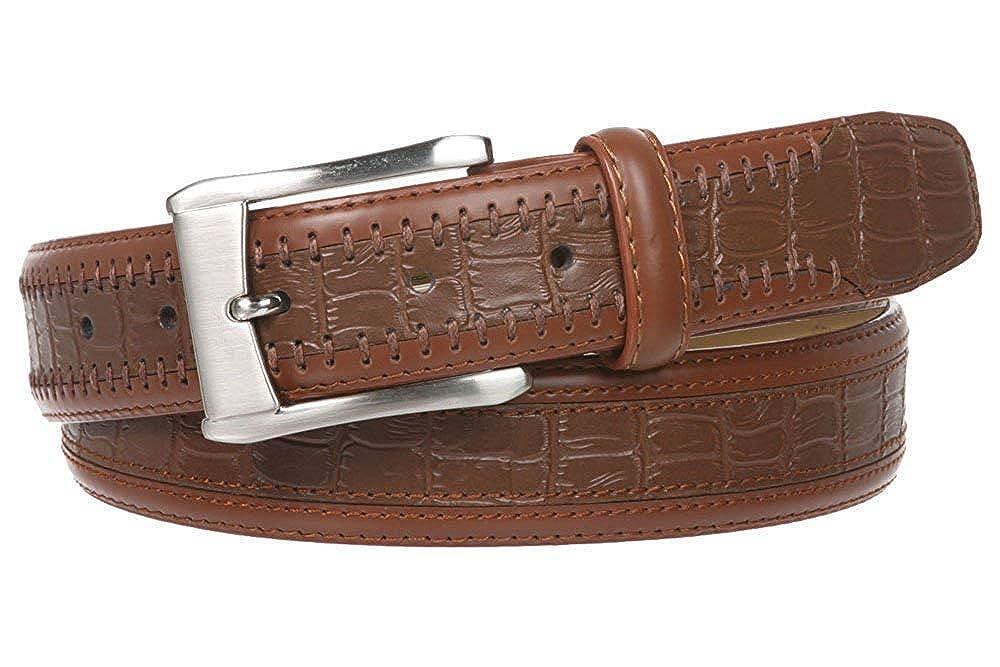 BBBelts Men 1-1//4 Black Genuine Leather Alligator Pattern Silvered Buckle Belt