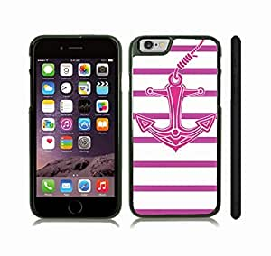 Case Cover For HTC One M7 with Pink Anchor with Purple Stripes on White Background Snap-on Cover, Hard Carrying Case (Black)