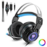 Gaming Headset for PS4, PC, Xbox One Controller, Noise Cancelling Over Ear Headphones with Mic, LED Light, Bass Surround, Soft Memory Earmuffs One Key Mute for Laptop Mac Nintendo Switch Games