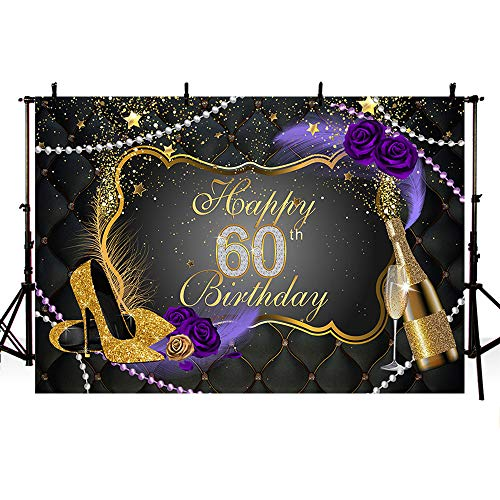 MEHOFOTO Glitter Black Photo Background Gold High Heels Purple Rose Flowers Champagne Feather Woman 60th Happy Birthday Party Banner Backdrops for Photography 8x6ft