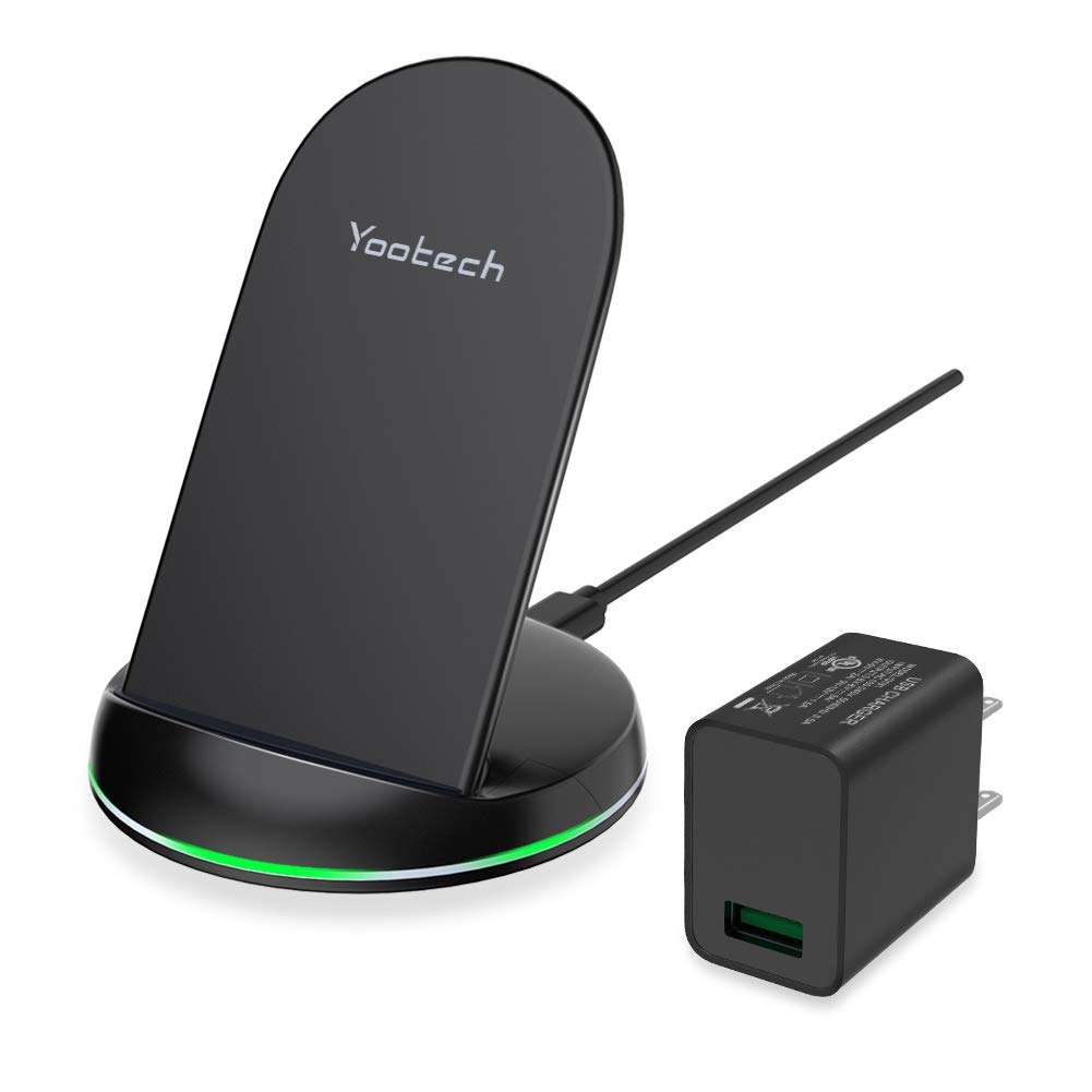 Yootech Wireless Charger, Qi-Certified Wireless Charging Stand with Quick Adapter, Compatible with iPhone XS/XR/XS MAX/X/8/8 Plus,10W for Galaxy Note 10/Note 10 Plus/S10/S10 Plus/S10E by yootech