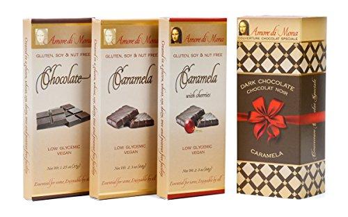 Classico Collection-Amore Di Mona Luxury Dark Chocolate and Caramela Box: Vegan, No Gluten, Peanuts, Tree Nuts, Milk, Sesame or Soy. Vegan, All-natural, Non-GMO, Low Glycemic
