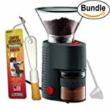 Bodum BISTRO Burr Grinder, Electronic Coffee Grinder with Continuously Adjustable Grind, Brushtech Coffee Grinder Dusting Brush & Zonoz One-Tablespoon Plastic Clever Scoop Bundle (Black)