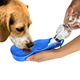 Dog Water Bottle - Portable Travel Dog Water Dispenser for Walking - Travel Dog Bowl for Dogs, Cats and Other Small Animals - Free Carabiner ((500ml/16.9oz))