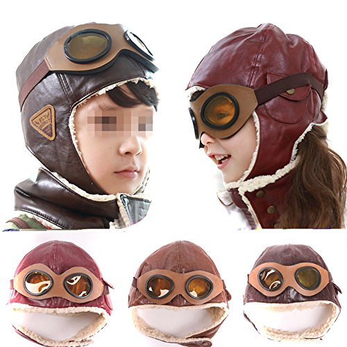 [Sealike Pilot Aviator Fleece Cap with Earmuffs, Deep Coffee] (Pilot Costumes Kids)