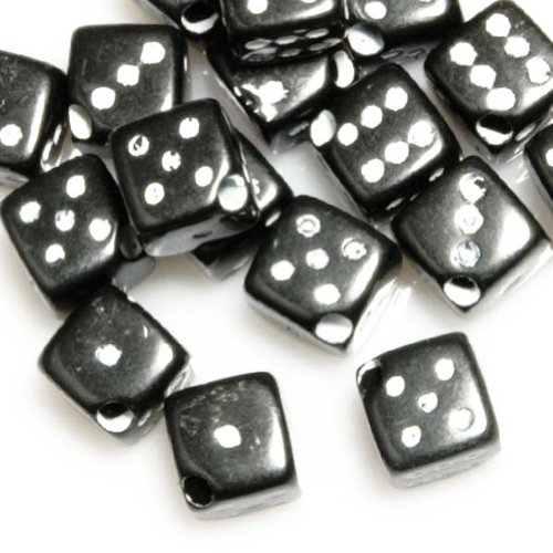 10g Acrylic Dice Beads Color Black Diagonally Drilled Style Dice Size 6x6x6mm Hole Size 1.5mm