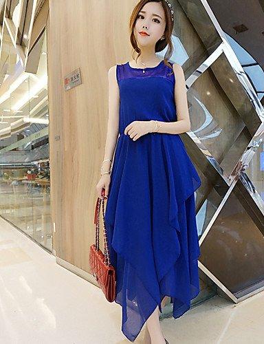 Grandes Blue Col Midimousseline Vintage Soirée De Mignon Aux Lyq Robe Tailles Arrondi Décontracté Femmes Plage 2xl Sexy HgZ1tqx