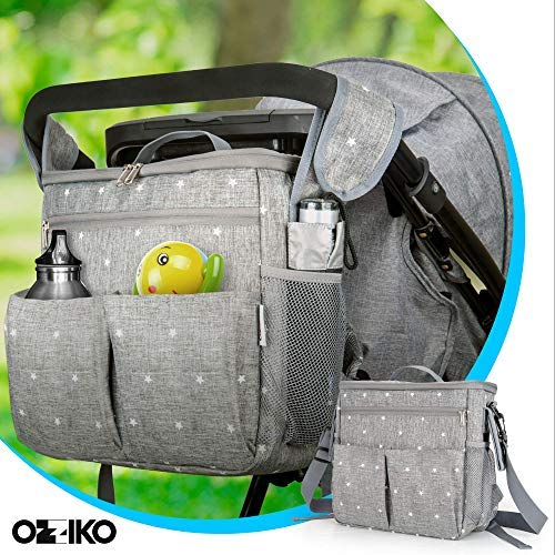 Parents Stroller Organizer Bag - Fits All Baby Stroller Models. Travel Bag with Shoulder Strap for Carrying Bottles, Diapers, Toys & Snacks. Insulated Cooling System, Cup Holder & Storage Pockets by Ozziko (Image #4)