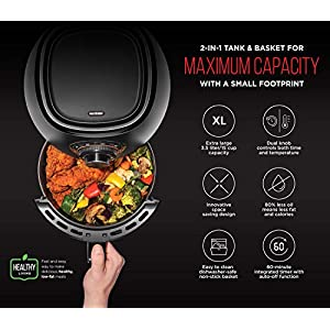 Chefman TurboFry 3.6 Quart Air Fryer Oven w/Dishwasher Safe Basket and Dual Control Temperature, 60 Minute Timer & 15 Cup Capacity, BPA-Free, Matte Black, Healthy Frying Cookbook Included